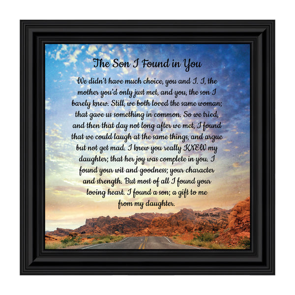 The Son I Found in You, Welcome to The Family, Son-in-Law Picture Frame, 10x10 8689