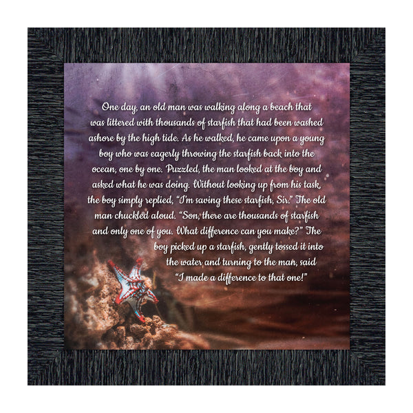 The Starfish Story, Legend of the Starfish, Thank You or Appreciation Gift for Your Pastor or Teacher, You Can Make a Difference Poem, 10x10 8691