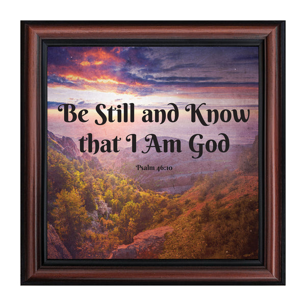Be Still and Know I Am God, Psalms 46:10, Bible Verse Wall Art, Religious Picture Frame, 10x10 8693