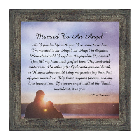 Married to an Angel, Christian Marriage Gift, Anniversary Picture Frame, 10x10 8698