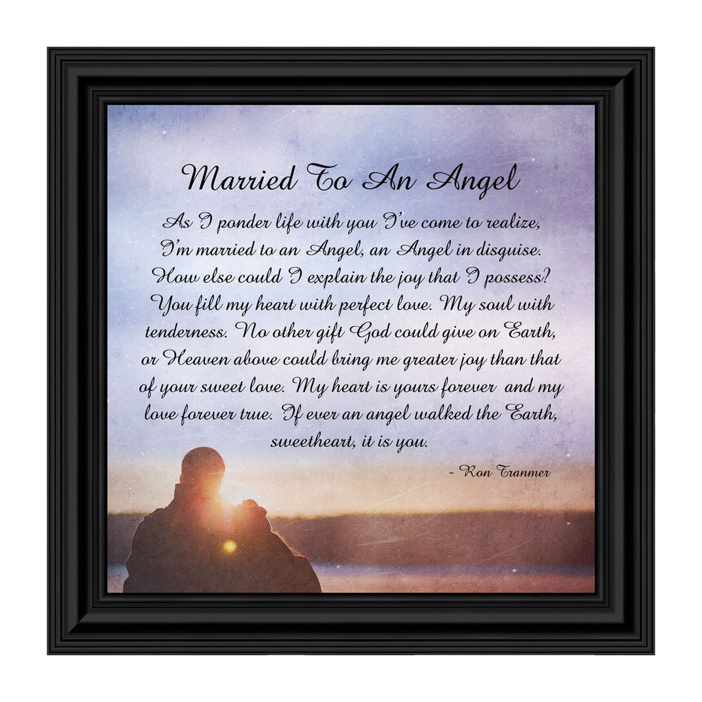 Married to an Angel, Christian Marriage Gift, Anniversary Gift for Husband or Wife Picture Frame, 10x10 8698