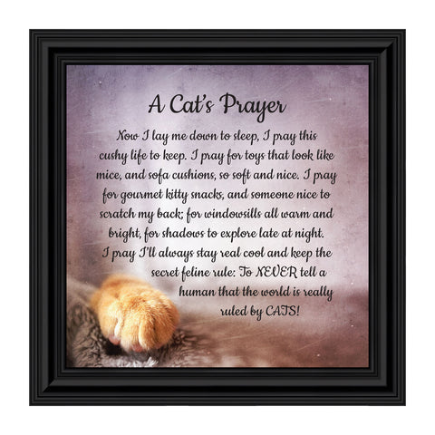 A Cat's Prayer, Pet Lover Gift, Paw Prints Picture Frame, 10x10 8705