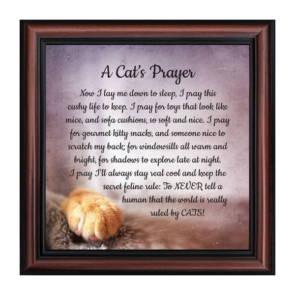 A Cat's Prayer, Pet Lover Gift, Cat or Kitten Paw Prints Picture Frame, 8x8, 8705
