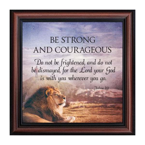 Be Strong and Courageous, Gift of Encouragement, Joshua 1:9, Bible Verse Wall Decor, 10x10 8712