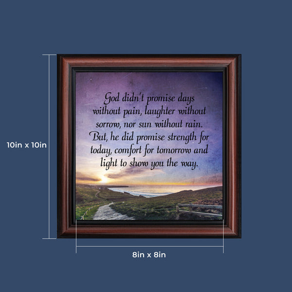 Crossroads Home Decor God Didn't Promise Days without Pain, Encouragement gifts for Women, Gift for Cancer Patients, Cheer Up Gifts, God's Promises, 10x10, 8715