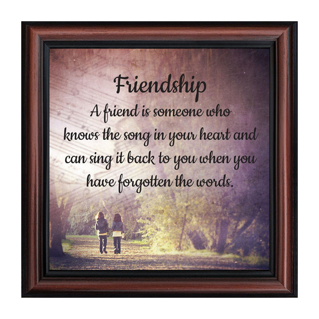 Friendship Song Framed Poem, Long Distance Friendship Gifts, Best Friend Birthday or Christmas Gift, 10x10, 8718