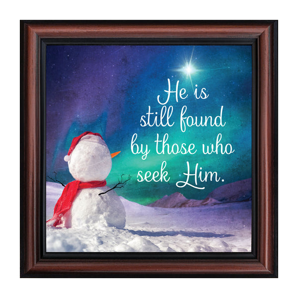 Seek Him, Winter Snowman Decoration, Religious Christmas Picture Frame, 10x10 8719