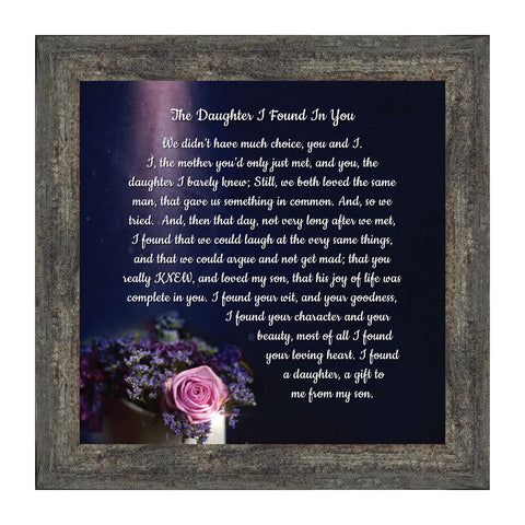The Daughter I Found in You, Daughter in Law Gifts, Poem for Future Daughter in Law, 10x10 8720