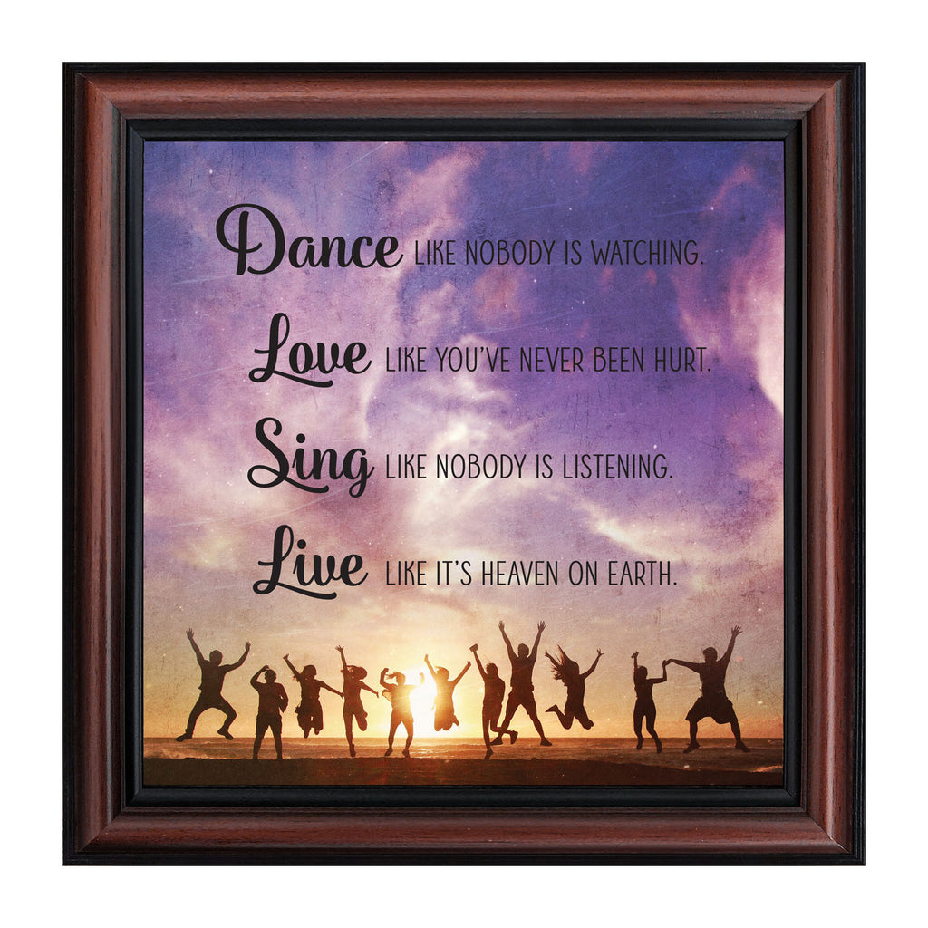 Dance Like Nobody is Watching, Mark Twain Motivational Wall Art, Inspiring Picture Frame, 10x10, 8721