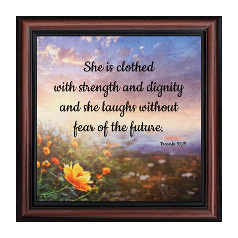 Proverbs 31 Woman, She is Clothed with Strength and Dignity Gift, Christian Home Decor Framed Wall Art, 10x10, 8722