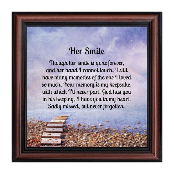 Sympathy Gifts for Loss of Mother, Condolence Gift, In Loving Memory Memorial Gifts for Loss of Wife, Mom, Grandma or Sister, Bereavement Gifts to Remember Her Smile, Memorial Picture Frame, 8726