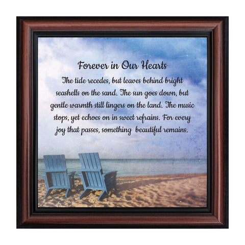 Memorial Gifts Picture Frames, Sympathy Gifts for Loss of Mother, Bereavement Gifts to Add to Your Sympathy Gift Baskets, In Memory of Loved One, Forever in Our Hearts Framed Poem, 8749
