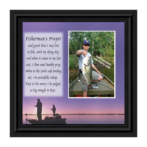 A Fisherman's Prayer, Fishing Gifts,  Beach, Boating or Fishing Decor, Personalized Picture Frame, 8x8,  9701