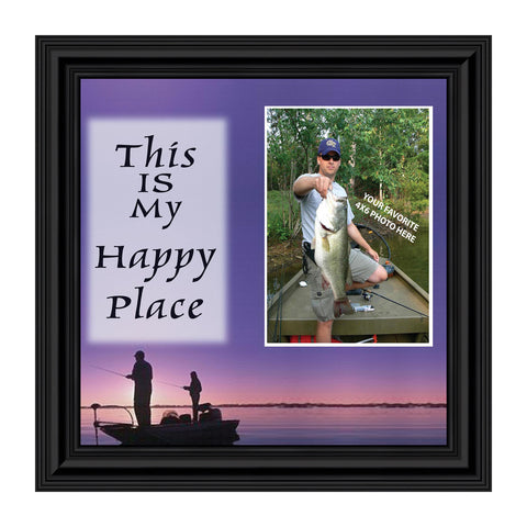 Fishermans Happy Place, Fishing Gifts,  Beach, Boating or Fishing Decor, Personalized Picture Frame, 10X10 9722
