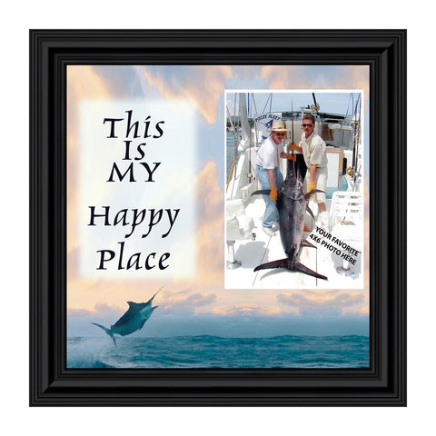 Deep Sea Fisherman's Happy Place, Fishing Gifts,  Beach, Boating or Fishing Decor, Personalized Picture Frame, 10X10 9723