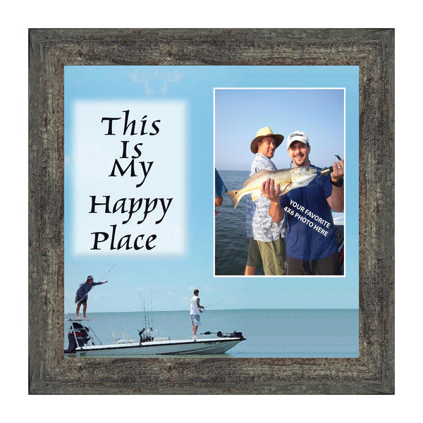 Fishermans Happy Place, Fishing Gifts,  Beach, Boating or Fishing Decor, Personalized Picture Frame, 10X10 9724