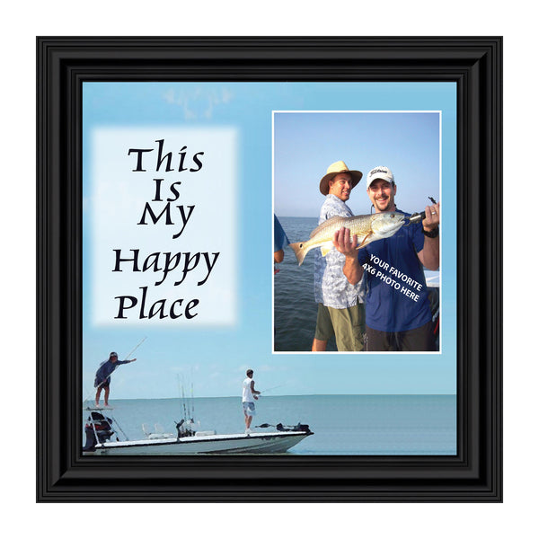 Fishermans Happy Place, Personalized Pictures Frame Fishermens Gifts, Fishing Décor 10X10 9724
