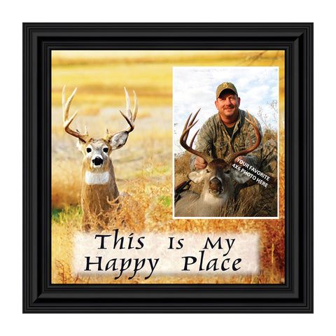A Deer Hunters Happy Place, Framed Hunting Picture, 8x8, 9727
