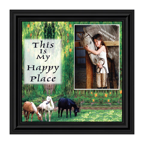 A Horse Lovers Happy Place, Horse Lovers, Personalized Picture Frame, 8x8, 9728