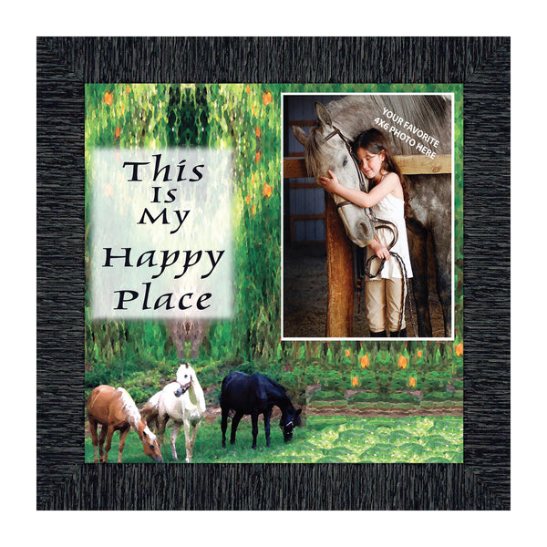 A Horse Lovers Happy Place, Horse Lovers, Personalized Picture Frame, 10X10 9728