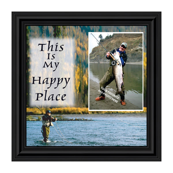 Fly Fishermen Happy Place, Personalized Picture Frame decorations for home and office, 10X10 9729