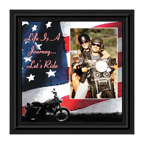 "Harley Davidson Gifts for Men and Women, Patriotic Harley Accessories, Harley Davidson Wedding Gifts, American Flag for Harley Riders, ""It's Not the Destination"" Unique Motorcycle Wall Decor, 9751"