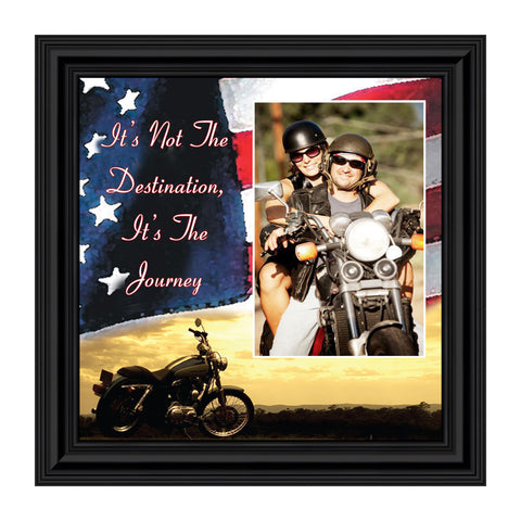"Harley Davidson Gifts for Men and Women, Patriotic Harley Accessories, Harley Davidson Wedding Gifts, Sunset American Flag for Harley Riders, ""It's Not the Destination"" Unique Motorcycle Decor, 9752"