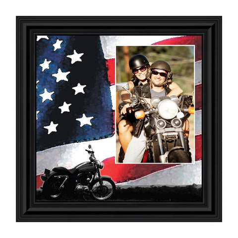 Classic Motorcycle with the America Flag Personalized Picture Frame, 10X10 9753