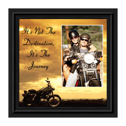 "Classic Motorcycle ""It's Not the Destination, It's the Journey"" Sunset with Personalized Picture Frame,  10X10 9760"