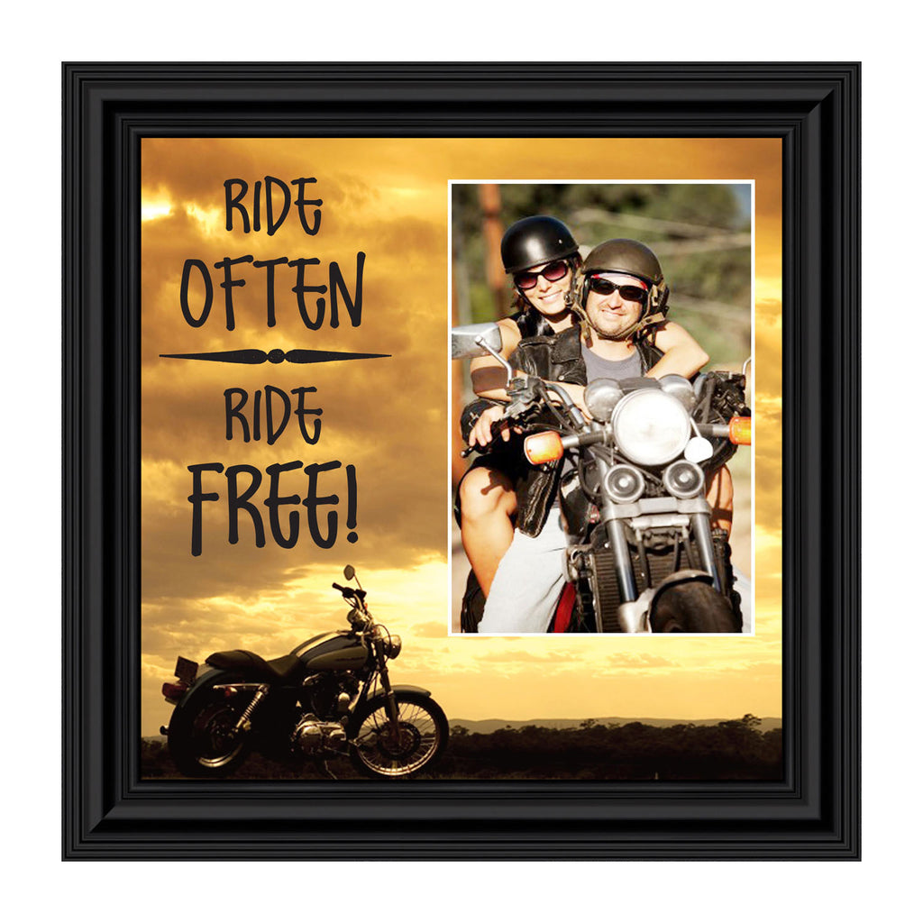 "Classic Motorcycle ""Ride Often, Ride Free"" Sunset with Personalized Picture Frame, 10X10 9763"
