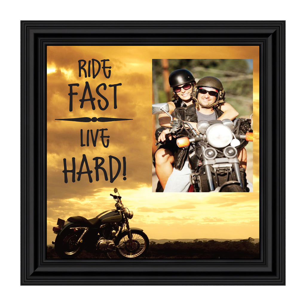 "Classic Harley Davidson Motorcycle ""Ride Fast, Live Hard"" Sunset Picture Frame, 10x10 9766"
