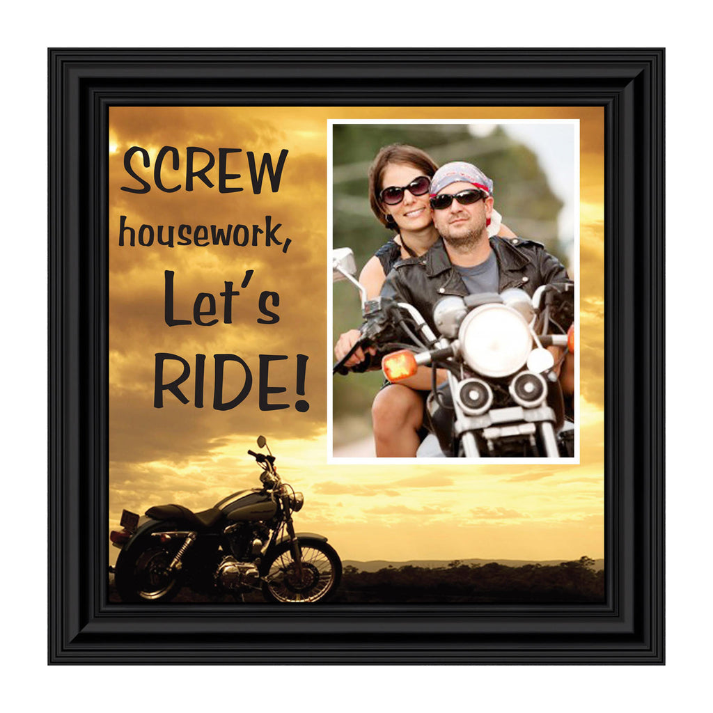 "Classic Motorcycle ""Screw Housework, Let's Ride!"" Sunset with Personalized Picture Frame, 10X10 9770"