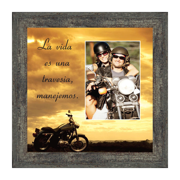 Life's a Journey (Spanish Version), Gifts for Motorcycle Riders, Harley Davidson Photo Frame, 10x10 9780