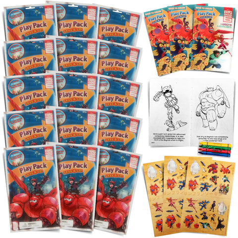 Set of 15 Big Hero Six Packs Fun Party Favors or Classroom Set of Coloring Book Stickers with Big Hero 6 Themed Game Idea Guide and Thank You Notes