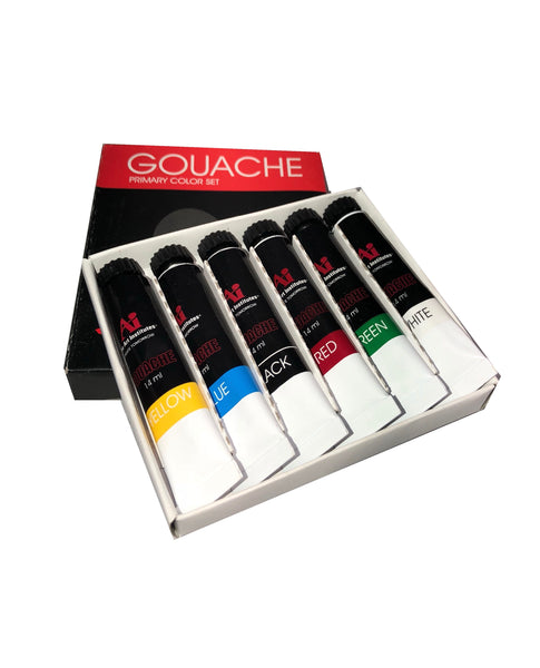 BULK Art Institute 6 Primary Color Gouache Paint Set - 8 or 20-6 Pack Sets