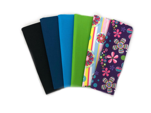 6 Stretchy, Standard Sized Soft Book Covers for Textbooks - 4 Solid and 2 Print , Choose Camo or Flowers