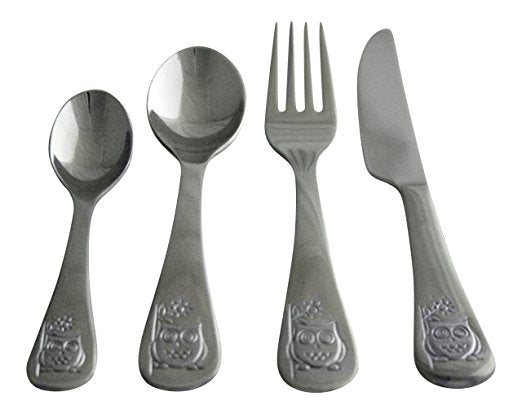 Oneida Kids 4 Piece Owl and Dino Stainless Steel Flatware Set