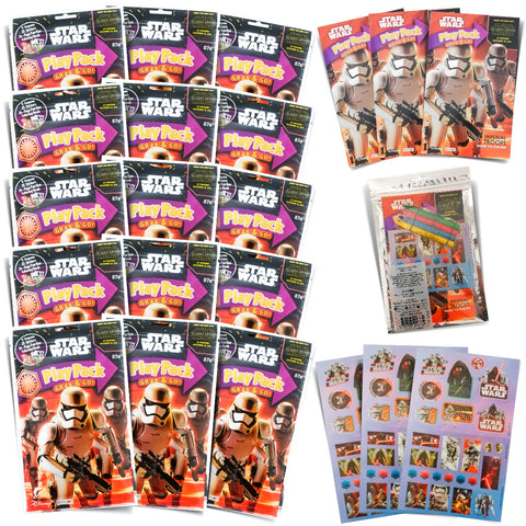 Set of 15, 30 or 60 Star Wars Play Packs Fun Party Favors or Classroom Set of Coloring Book Stickers with Star Wars Themed Game Idea Guide and Thank You Notes