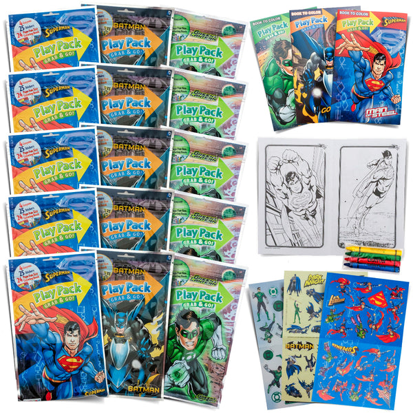 Set Of 15 My Little Pony, Finding Dory, Super Hero, and Disney Princess Play Packs Fun Party Favors Coloring Book Crayons Stickers