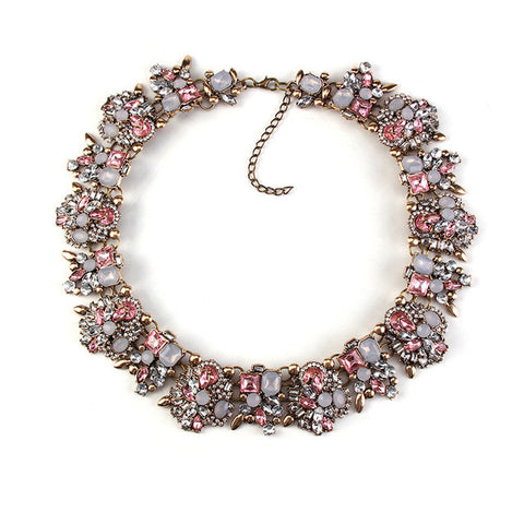 Vintage Pretty Pink Rhinestones Necklace