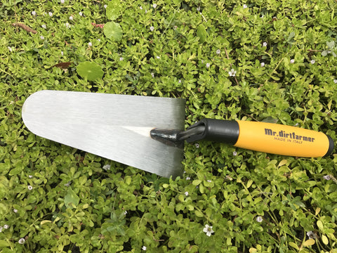 Italian Carbon Steel Super Grip Garden Flat Trowel – Best Hand Trowel for Digging, Cutting, Weeding and more.