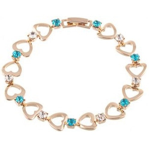 Rose Gold Filled Hearts Link Clear Lake Blue CZ Bracelet - Mee-Mii