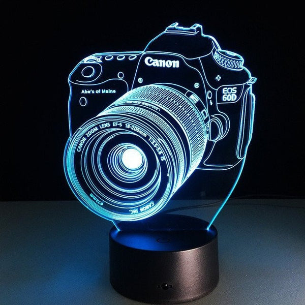 Stylish 3D light Camera Design Colorful Changing visual LED Room Night