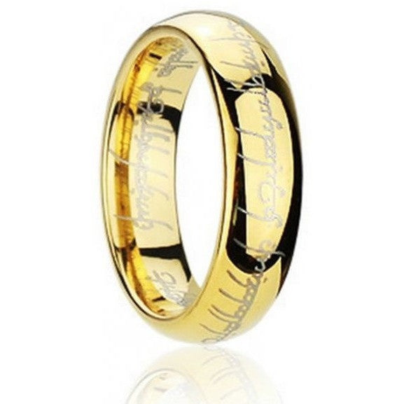 Lord of the Ring Gold Stainless Steel Unisex Band Ring - Mee-Mii