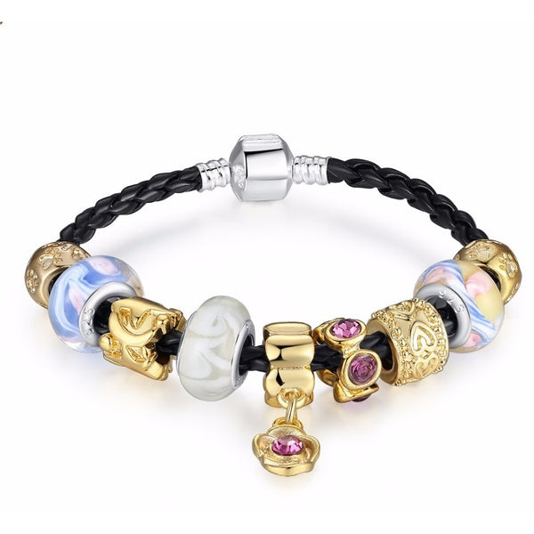 Gold Plated European Charm Silver Bracelet Glass Bangle Jewelry - Mee-Mii