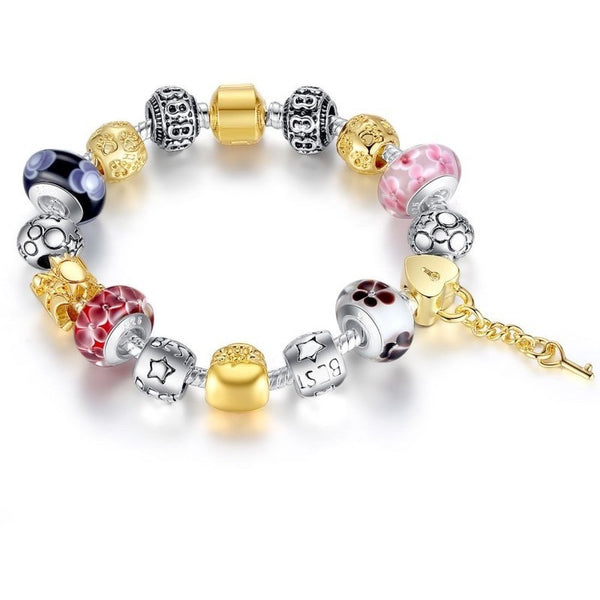 European Gold Plated Charm With Murano Glass Bracelet - Mee-Mii