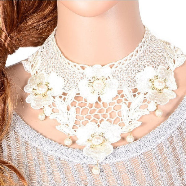 Hollow White Lace Flower Pearl Collar Necklace