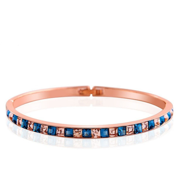 Austria Crystal Fleur Rose Gold Plated Bangle - Mee-Mii