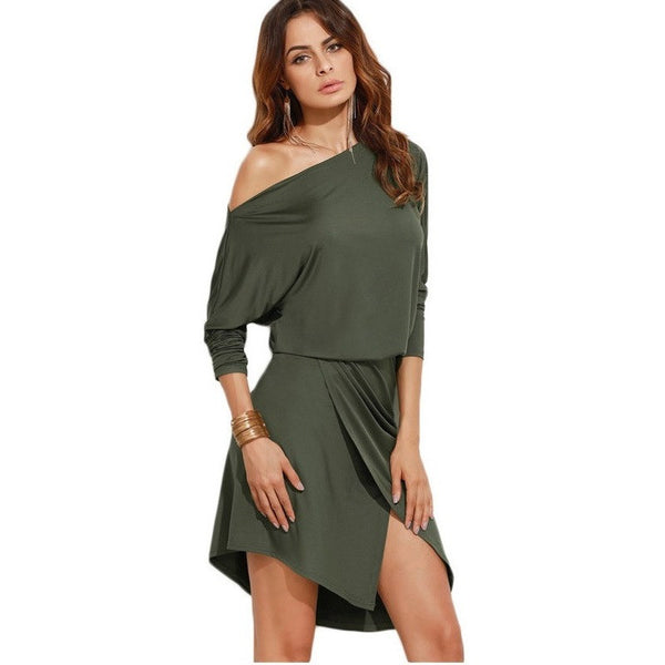 Army Green Party Dresses Long Sleeve Ladies Sexy Club Dress