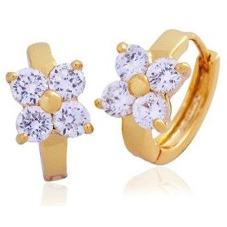 18k Gold Plated Fashion CZ Floral Design Hoop Earrings - Mee-Mii